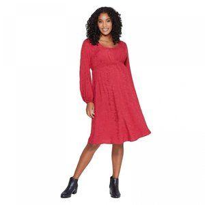 NWT Maternity Smocked Jacquard Dress Medium Red